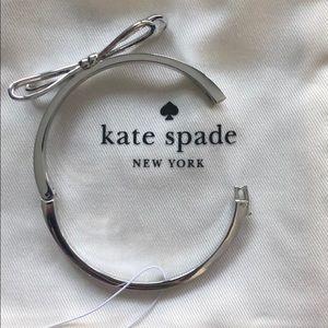 kate spade Jewelry - Kate Spade Silver Bow Hinge Bangle